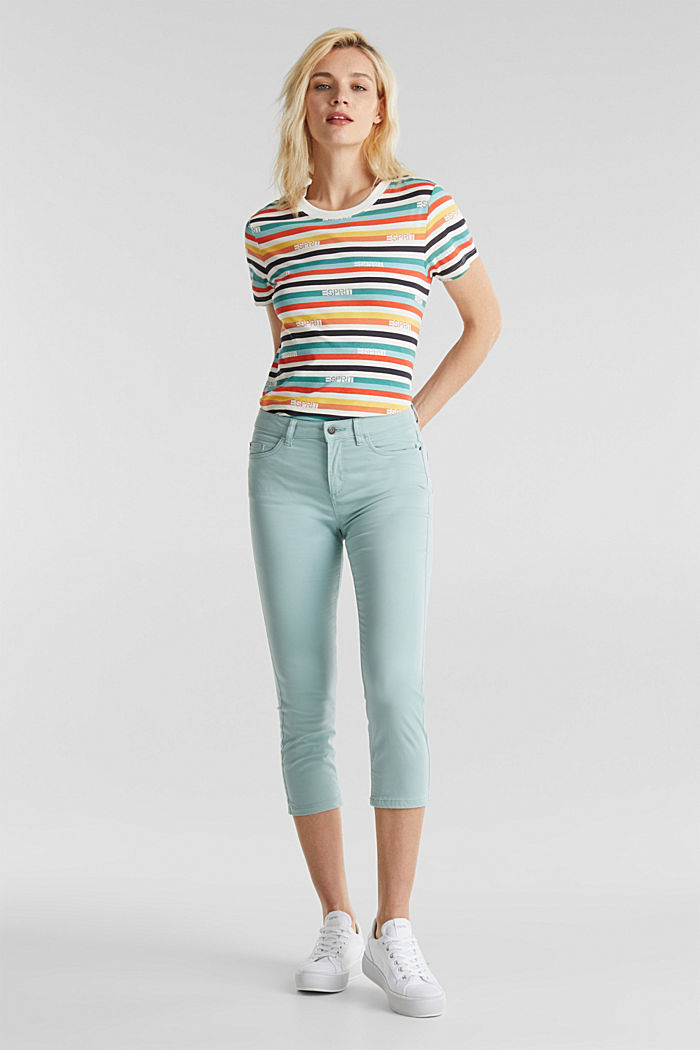 Soft Capri trousers with Lycra® xtra life™, LIGHT AQUA GREEN, detail image number 0