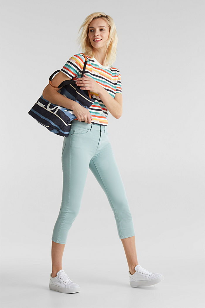 Soft Capri trousers with Lycra® xtra life™, LIGHT AQUA GREEN, detail image number 1