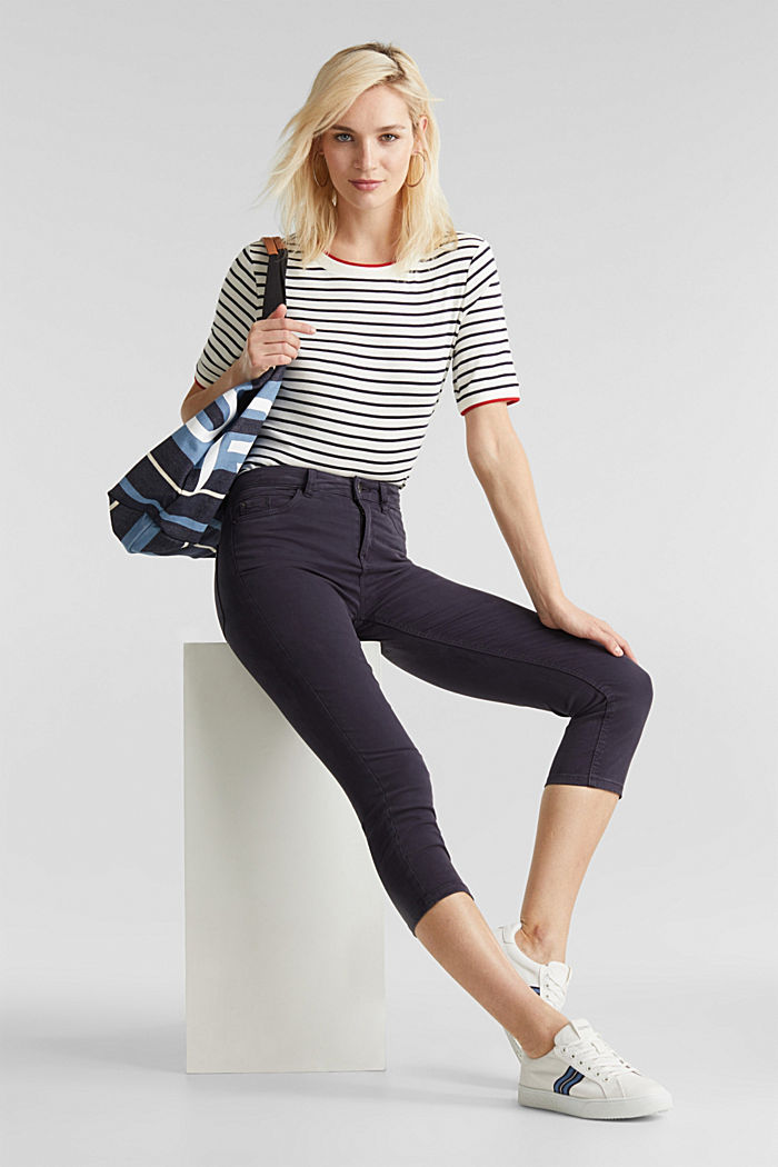 Soft Capri trousers with Lycra® xtra life™, NAVY, detail image number 1