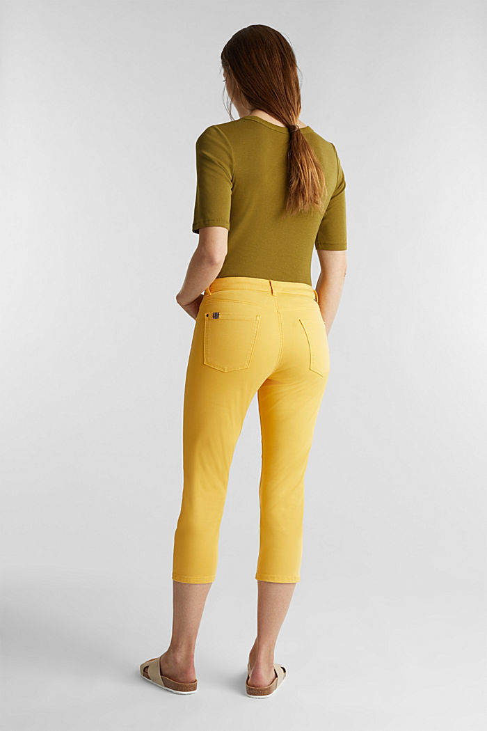 Soft Capri trousers with Lycra® xtra life™, YELLOW, detail image number 3