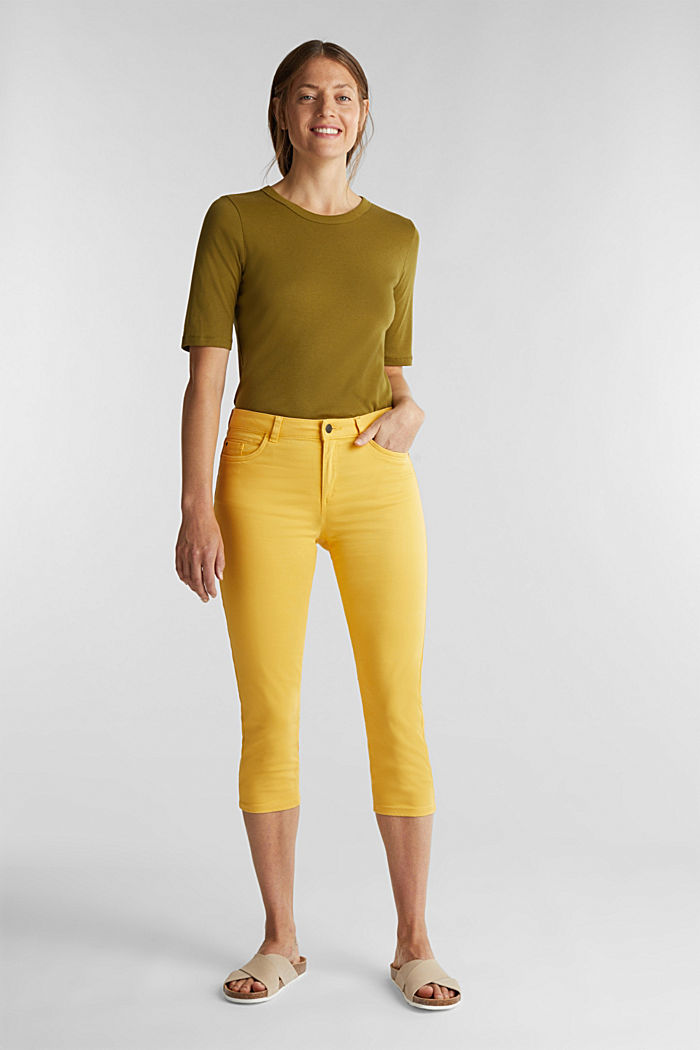 Soft Capri trousers with Lycra® xtra life™, YELLOW, detail image number 1