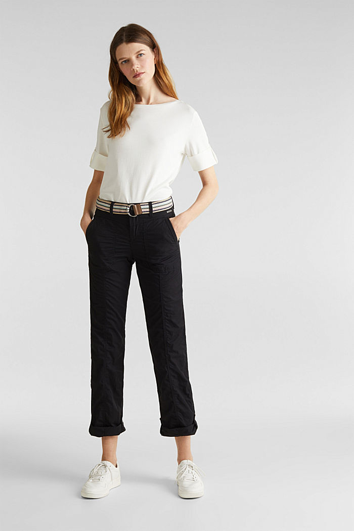 PLAY trousers with a belt, BLACK, detail image number 0