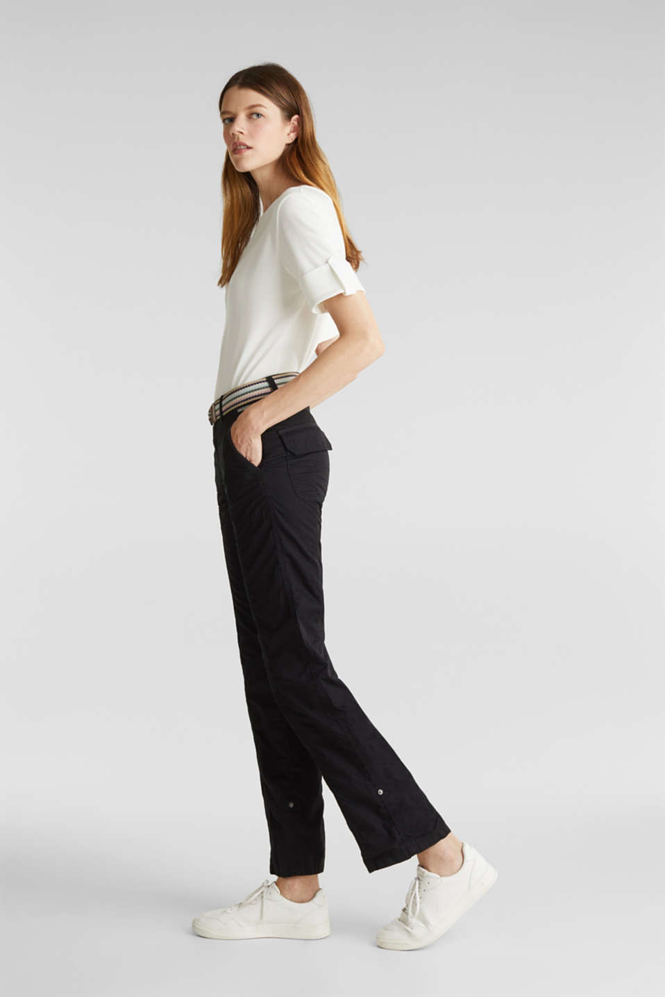 PLAY trousers with belt, 100% organic cotton, BLACK, detail image number 1