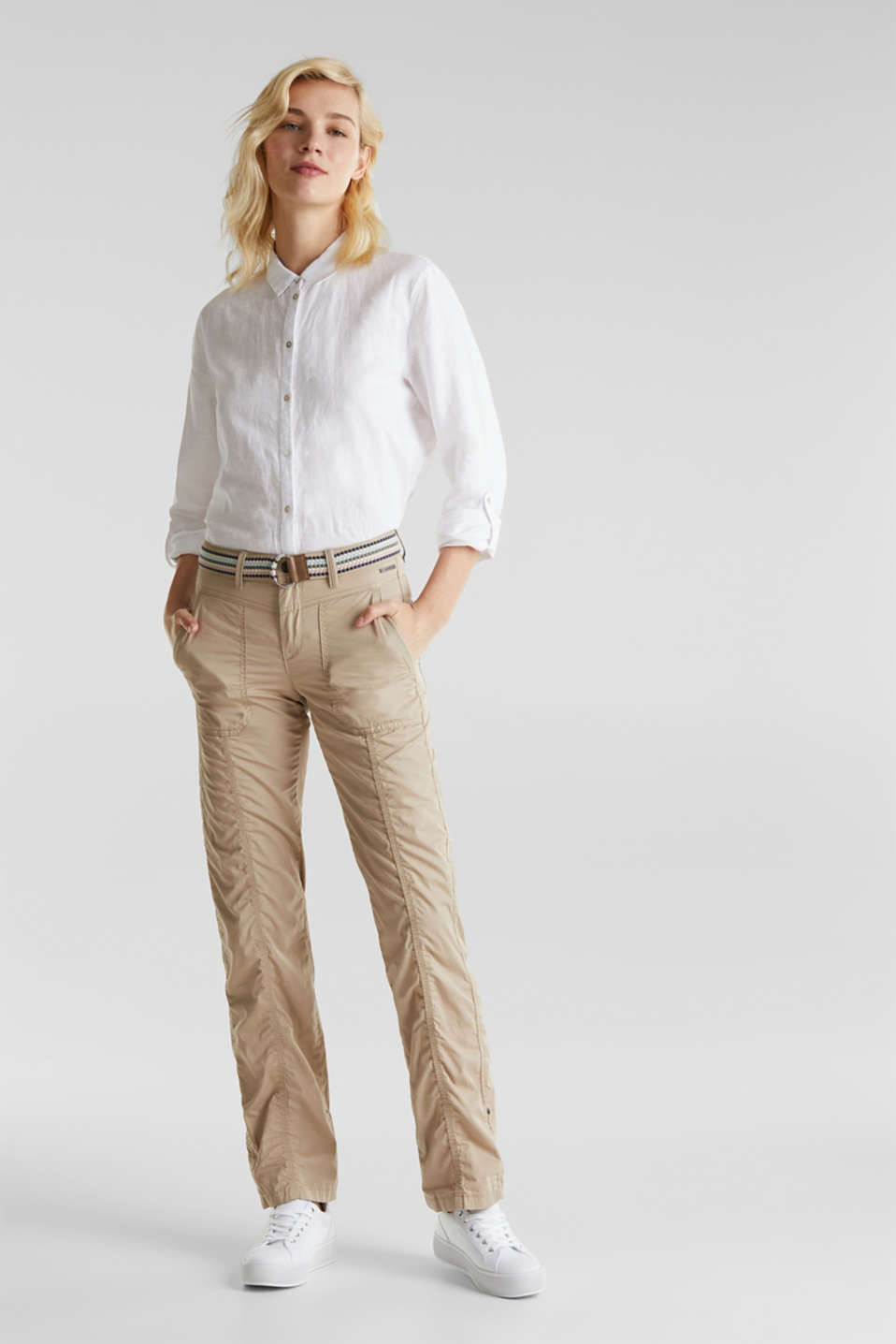 PLAY trousers with a belt, BEIGE, detail image number 0