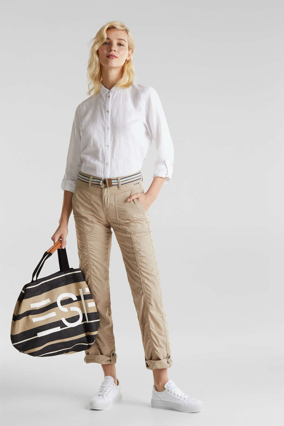 PLAY trousers with a belt, BEIGE, detail image number 1