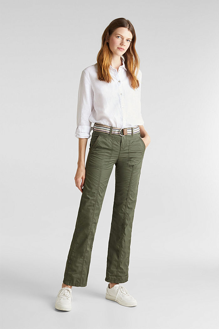 PLAY trousers with a belt, KHAKI GREEN, detail image number 0