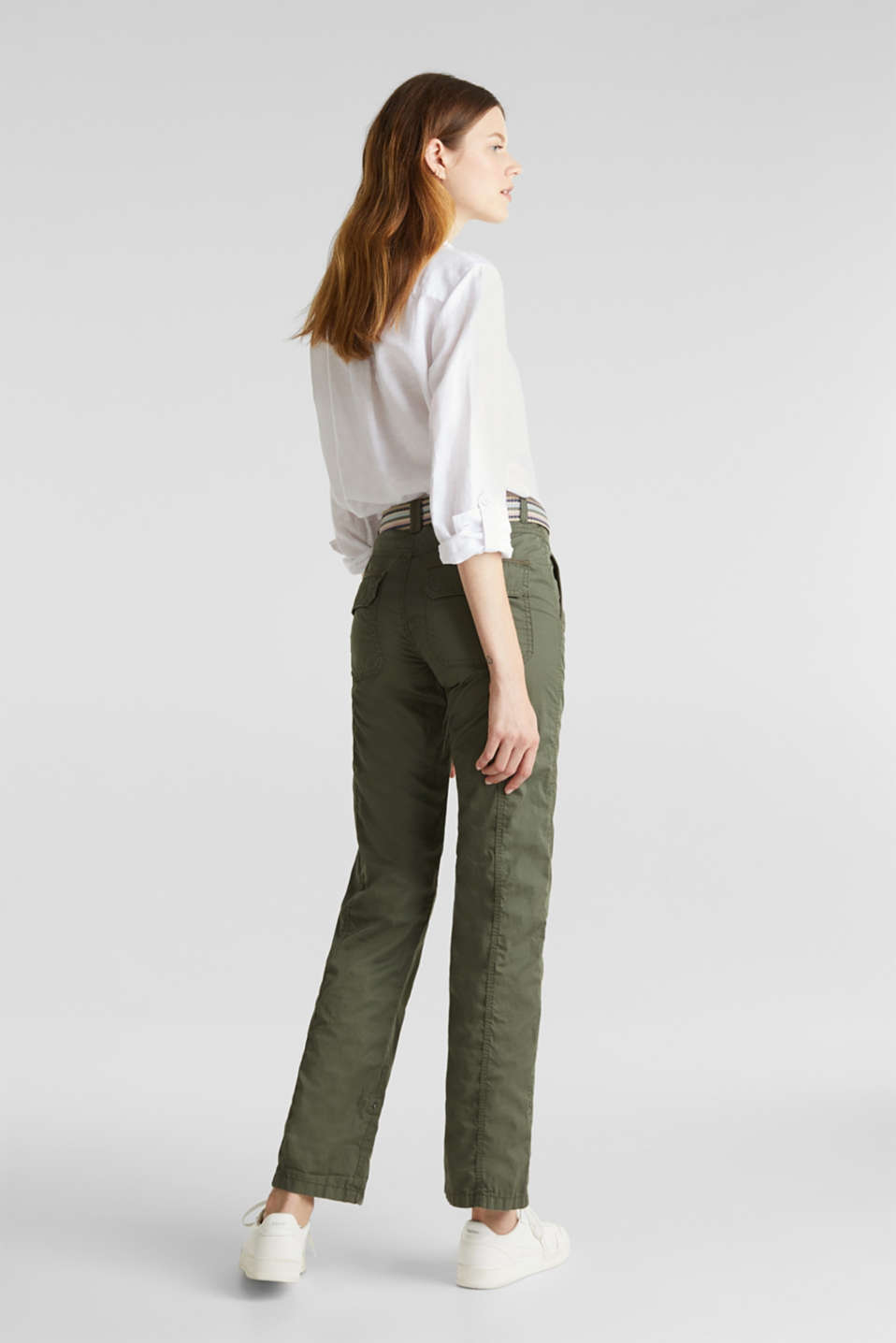 PLAY trousers with belt, 100% organic cotton, KHAKI GREEN, detail image number 3