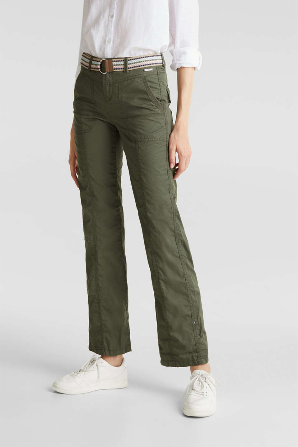 PLAY trousers with belt, 100% organic cotton, KHAKI GREEN, detail image number 6