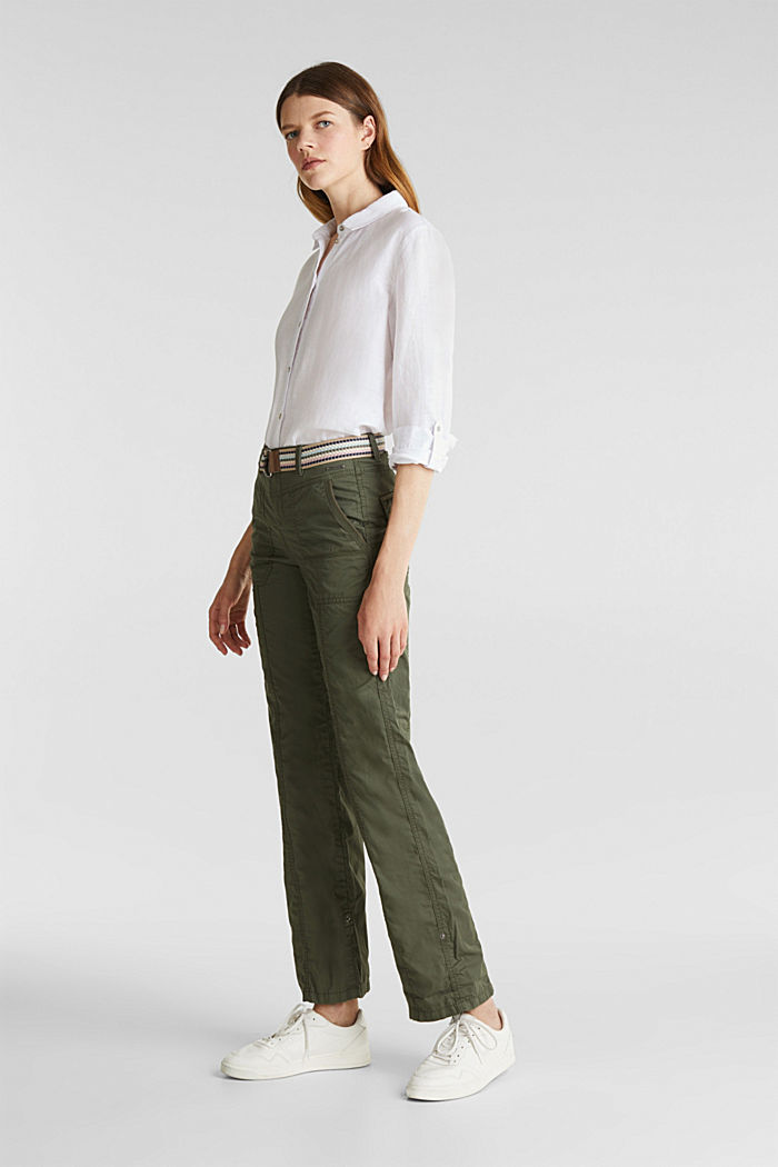 PLAY trousers with a belt, KHAKI GREEN, detail image number 1