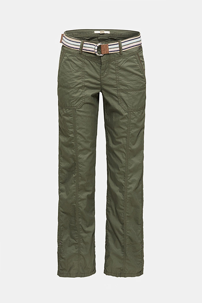 PLAY trousers with a belt, KHAKI GREEN, overview
