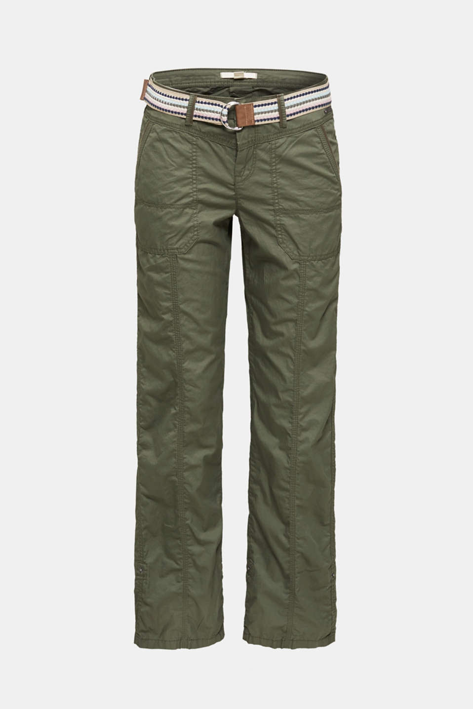 PLAY trousers with belt, 100% organic cotton, KHAKI GREEN, detail image number 7
