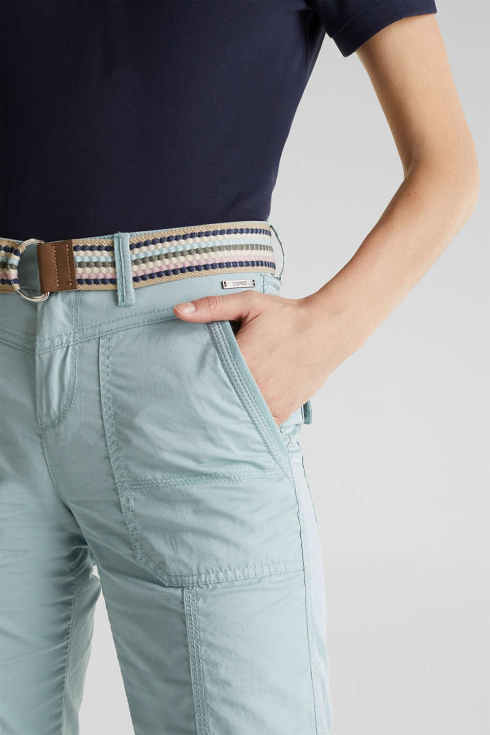 PLAY trousers with a belt, LIGHT AQUA GREEN, detail image number 2