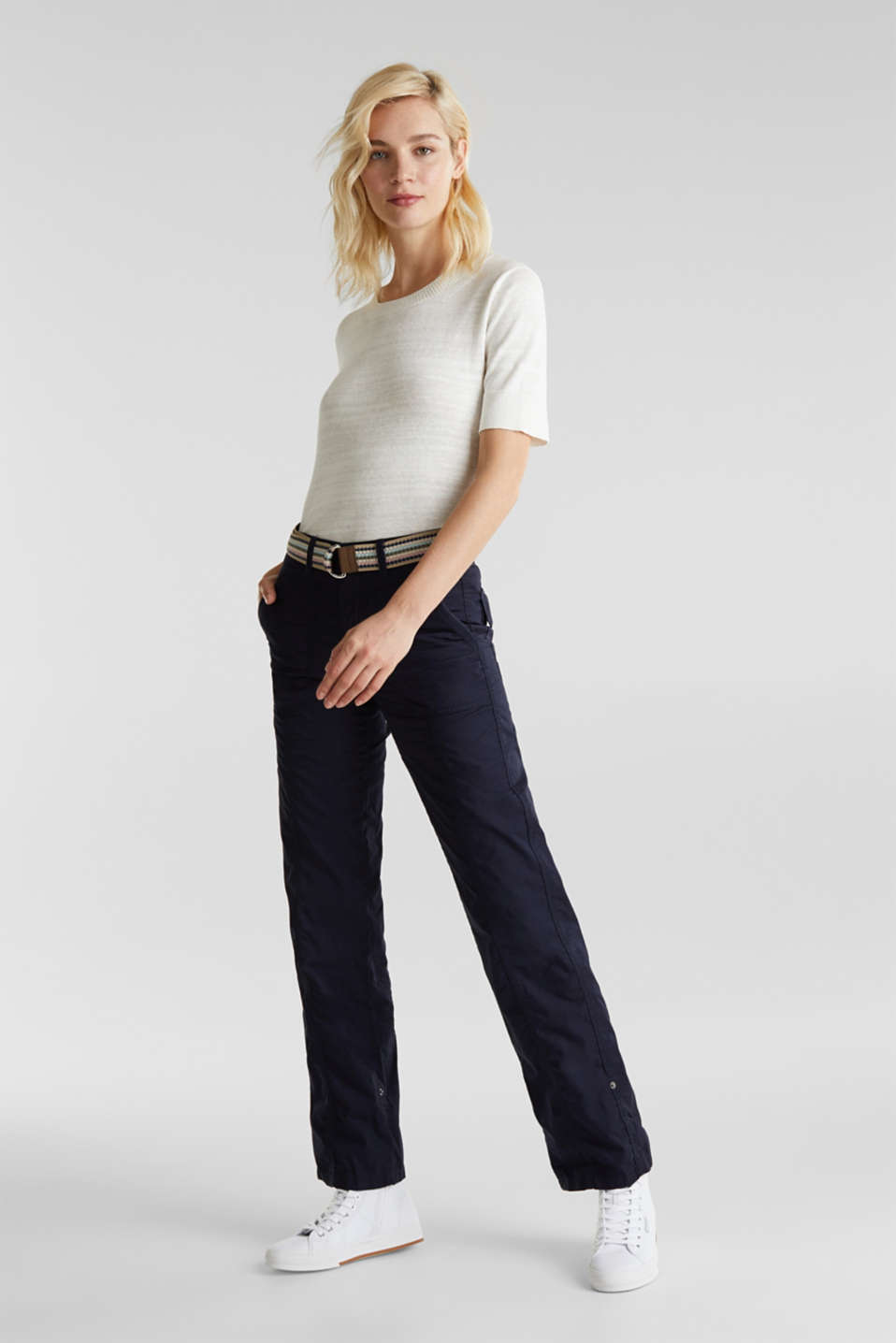 PLAY trousers with a belt, NAVY, detail image number 0
