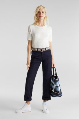 PLAY trousers with belt, 100% organic cotton, NAVY, detail