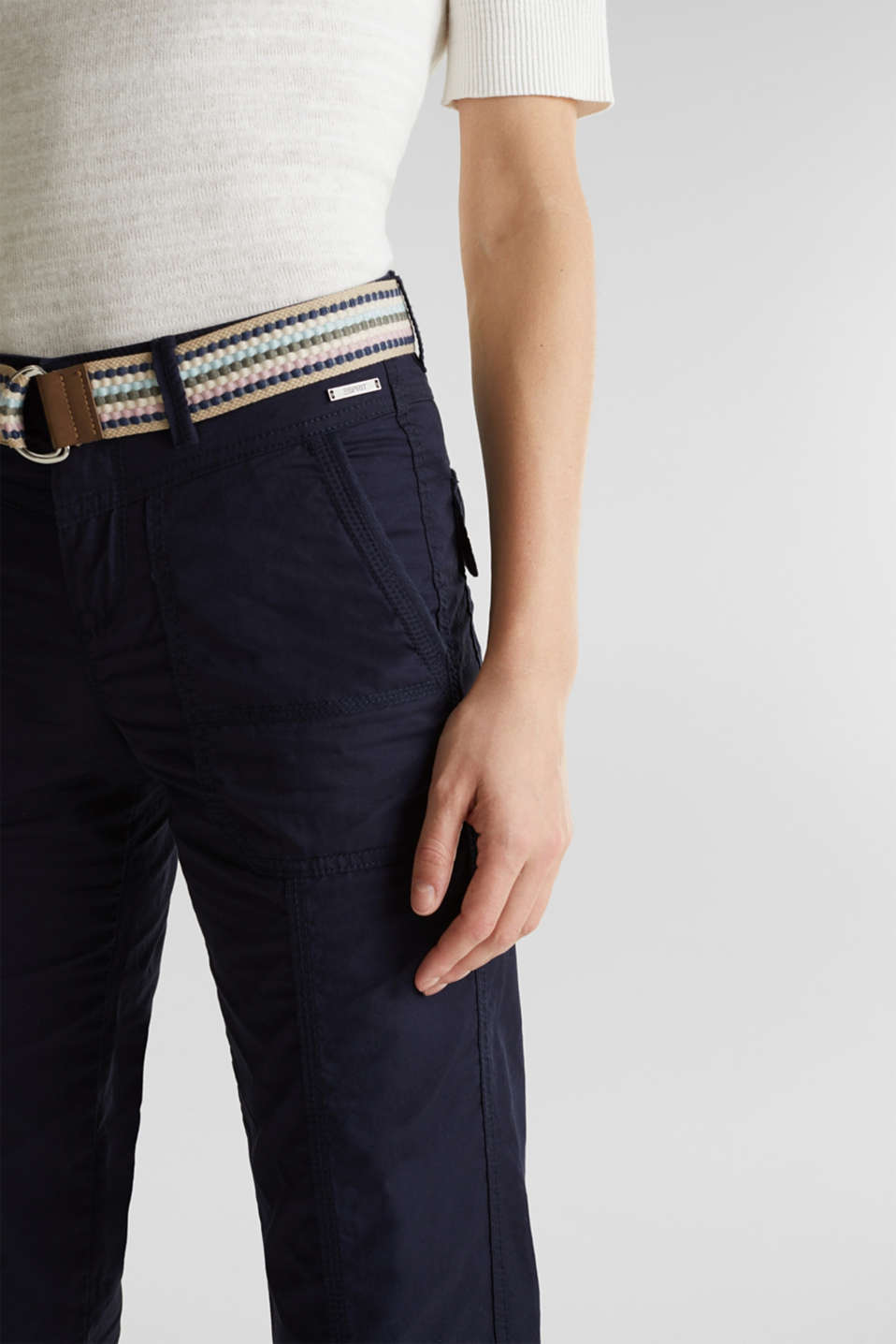 PLAY trousers with belt, 100% organic cotton, NAVY, detail image number 2