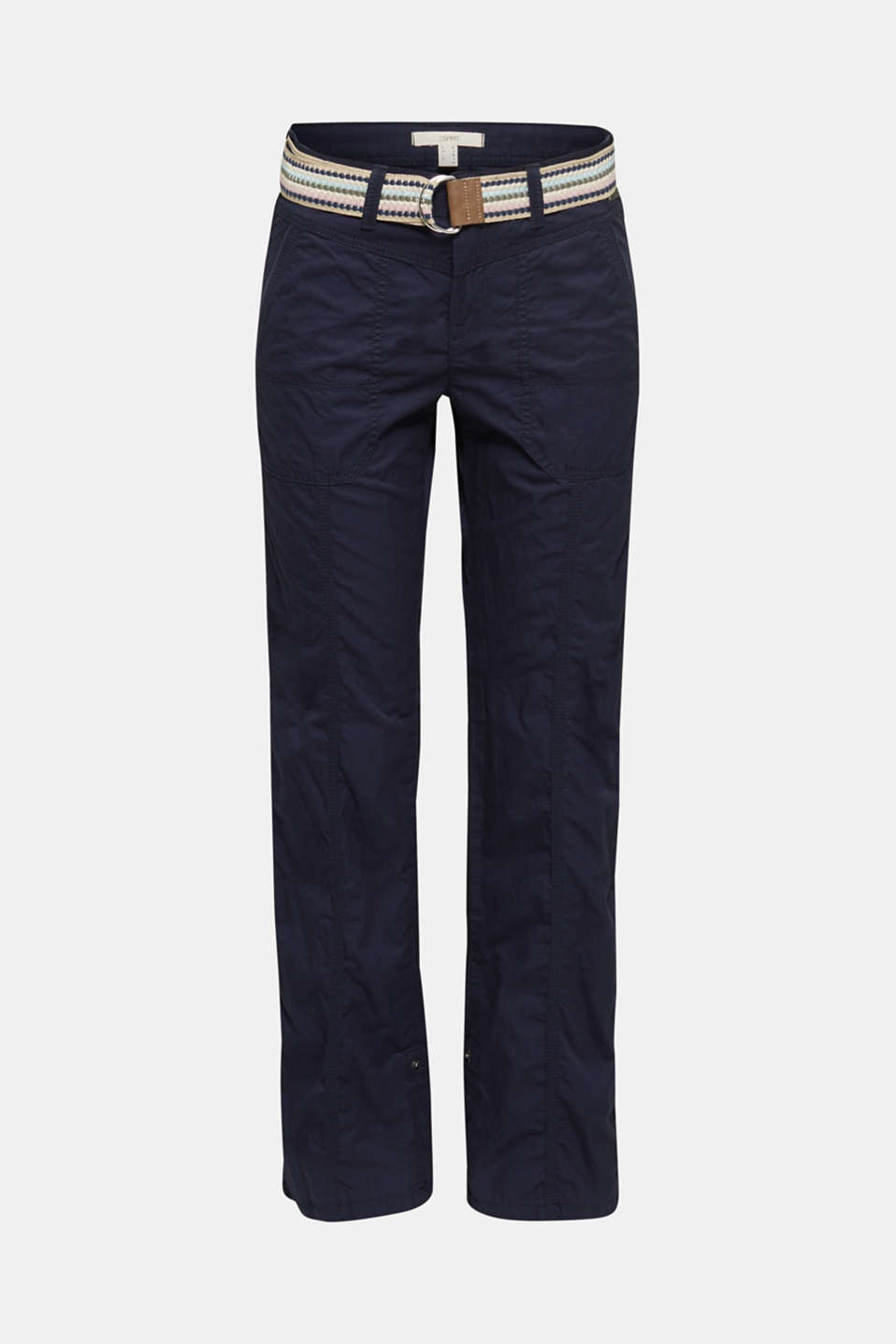 PLAY trousers with belt, 100% organic cotton, NAVY, detail image number 7