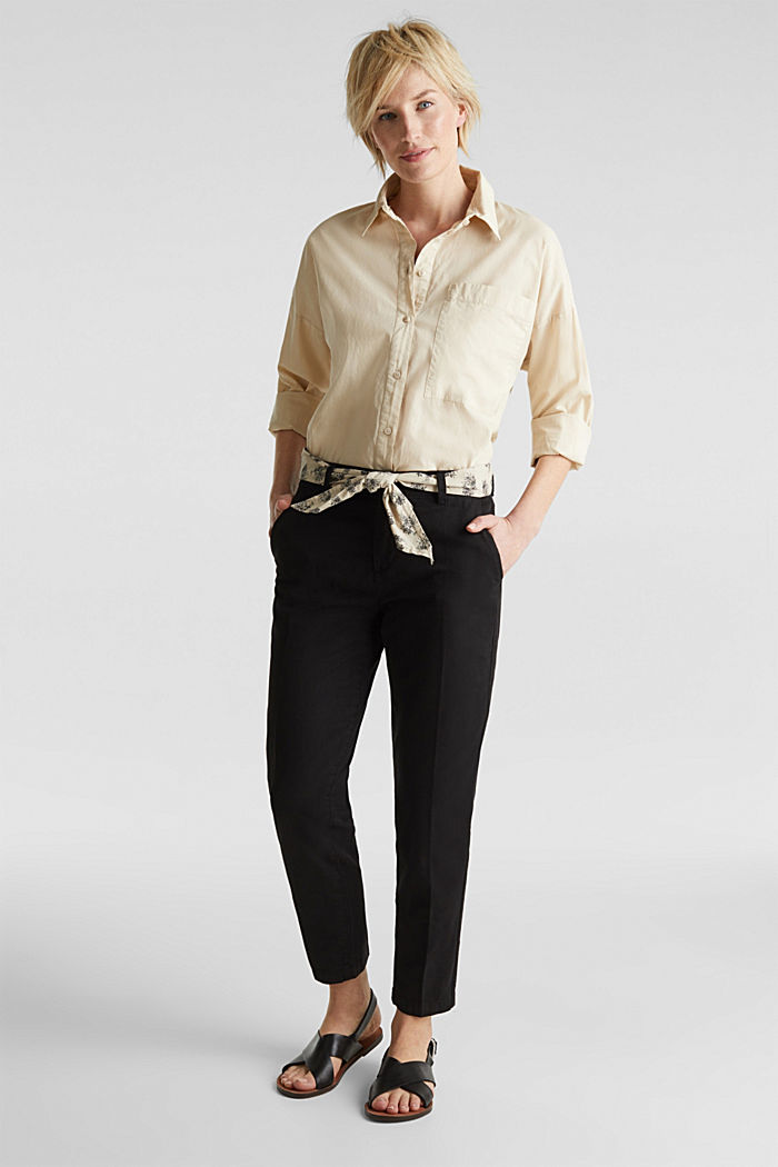 Chinos with a belt, 100% cotton, BLACK, detail image number 0