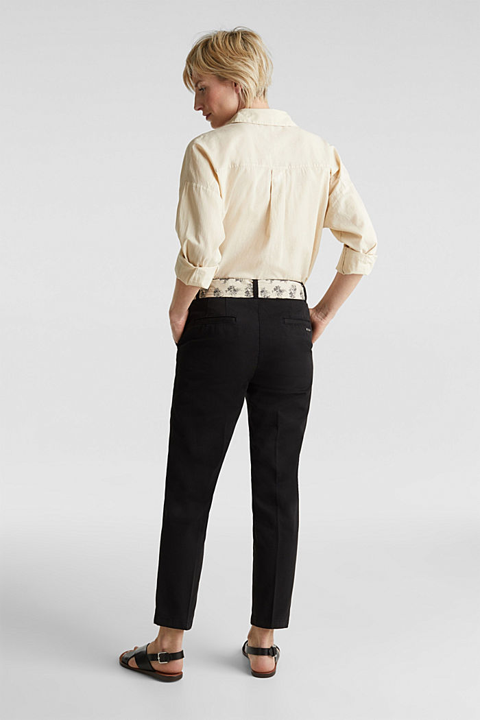 Chinos with a belt, 100% cotton, BLACK, detail image number 3