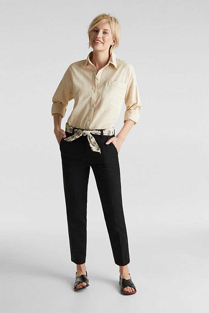 Chinos with a belt, 100% cotton, BLACK, detail image number 1