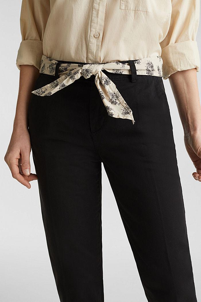 Chinos with a belt, 100% cotton, BLACK, detail image number 2