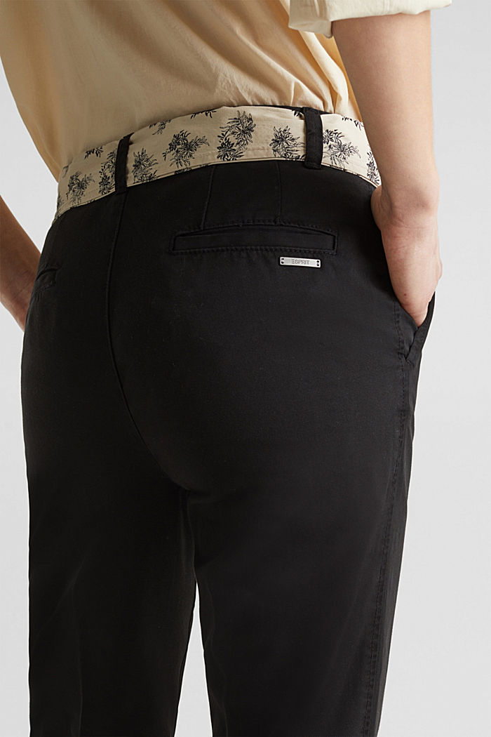 Chinos with a belt, 100% cotton, BLACK, detail image number 5