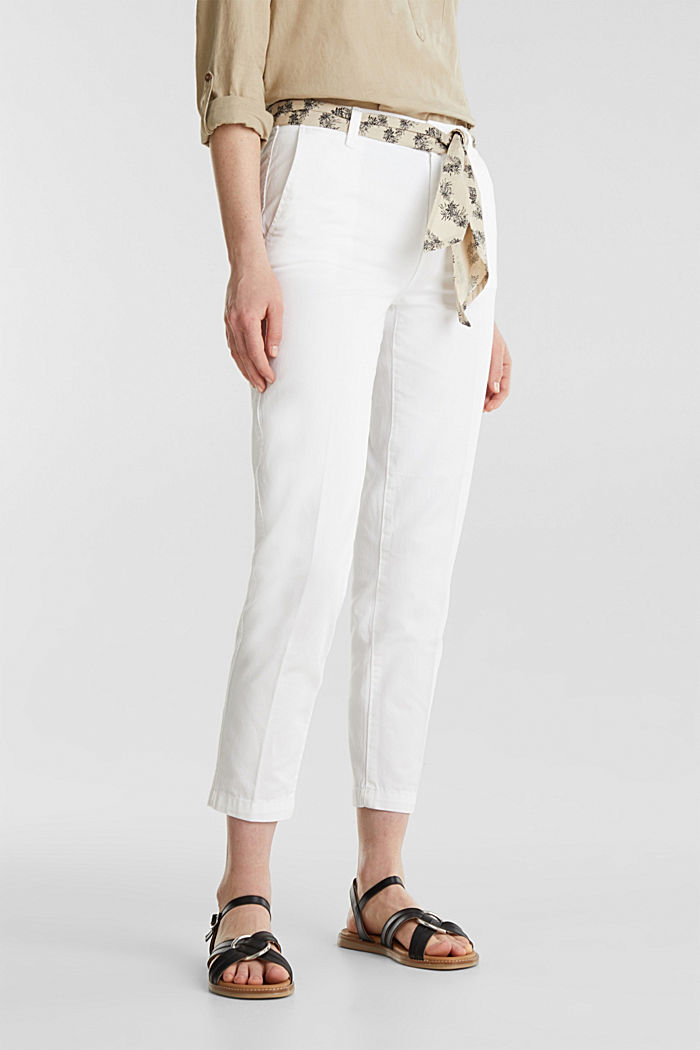 Chinos with a belt, 100% cotton, WHITE, detail image number 0