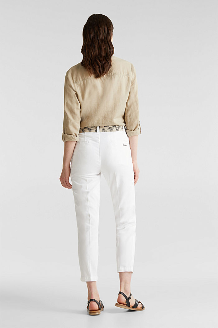 Chinos with a belt, 100% cotton, WHITE, detail image number 3