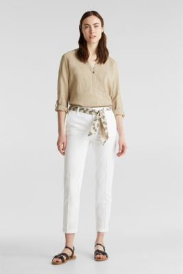 Chinos with a belt, 100% cotton, WHITE, detail