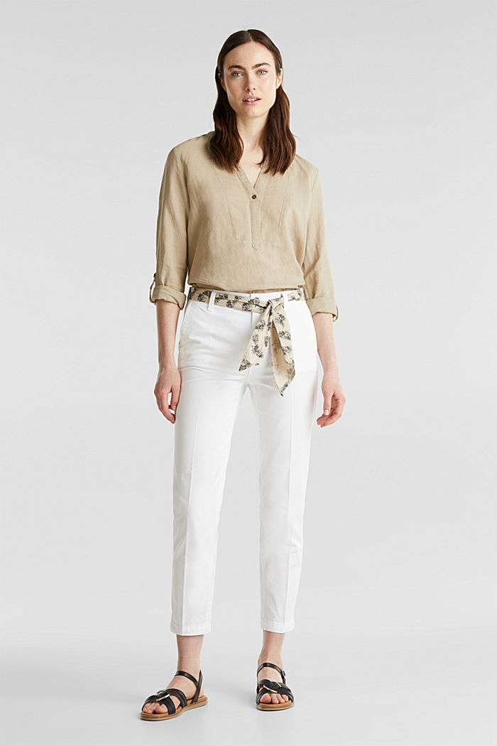 Chinos with a belt, 100% cotton, WHITE, detail image number 1