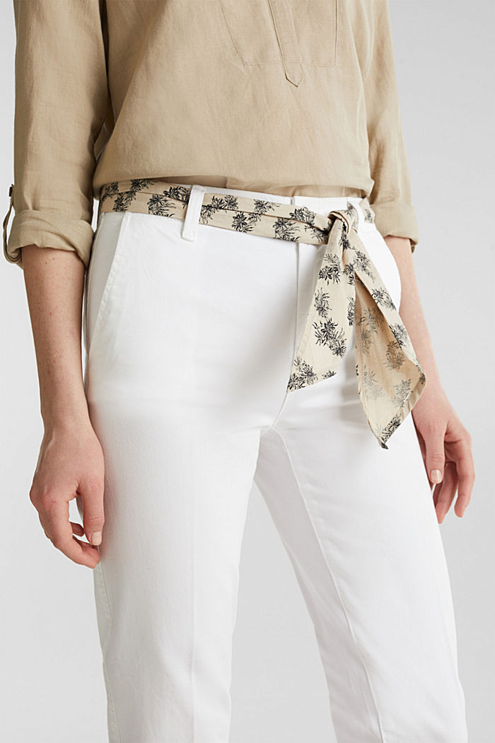 Chinos with a belt, 100% cotton, WHITE, detail image number 5