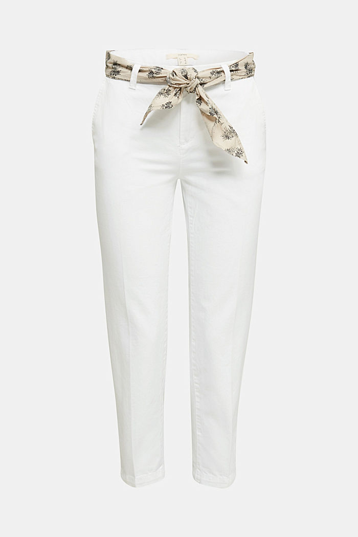Chinos with a belt, 100% cotton, WHITE, detail image number 6