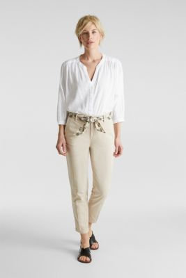 Chinos with a belt, 100% cotton, LIGHT BEIGE, detail
