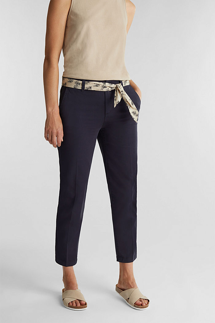 Chinos with a belt, 100% cotton, NAVY, detail image number 0