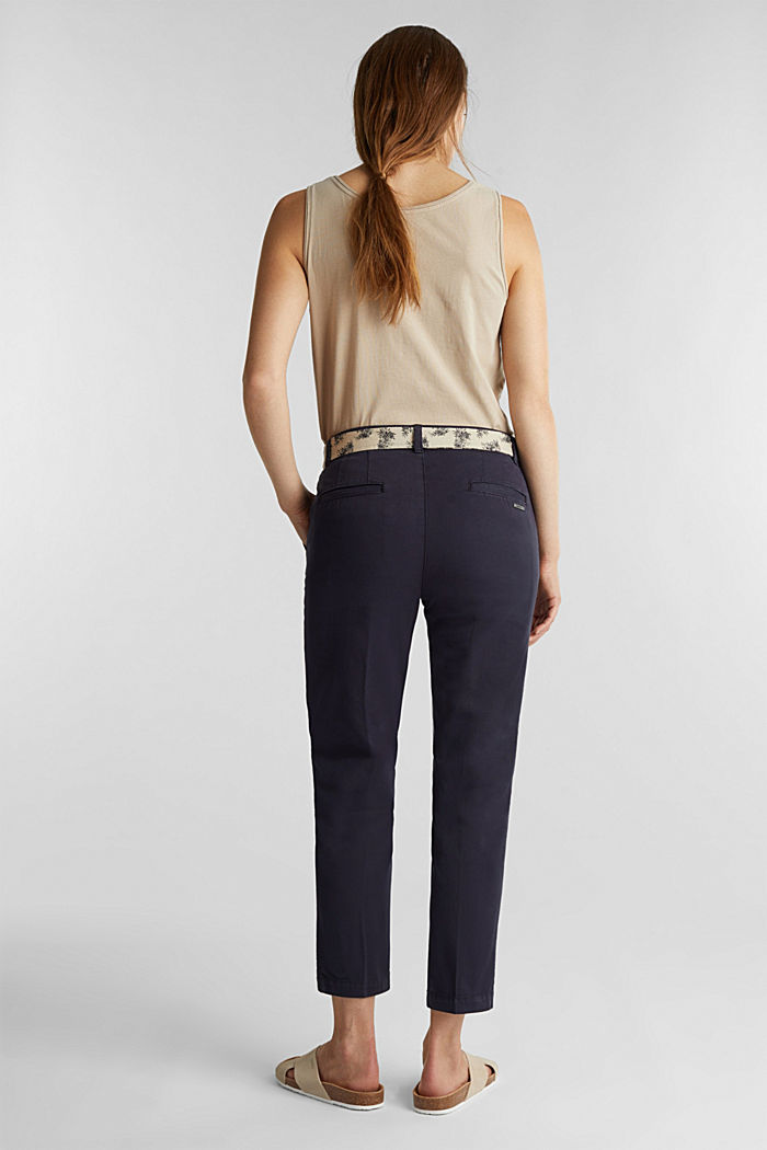 Chinos with a belt, 100% cotton, NAVY, detail image number 3