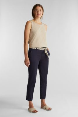 Chinos with a belt, 100% cotton, NAVY, detail