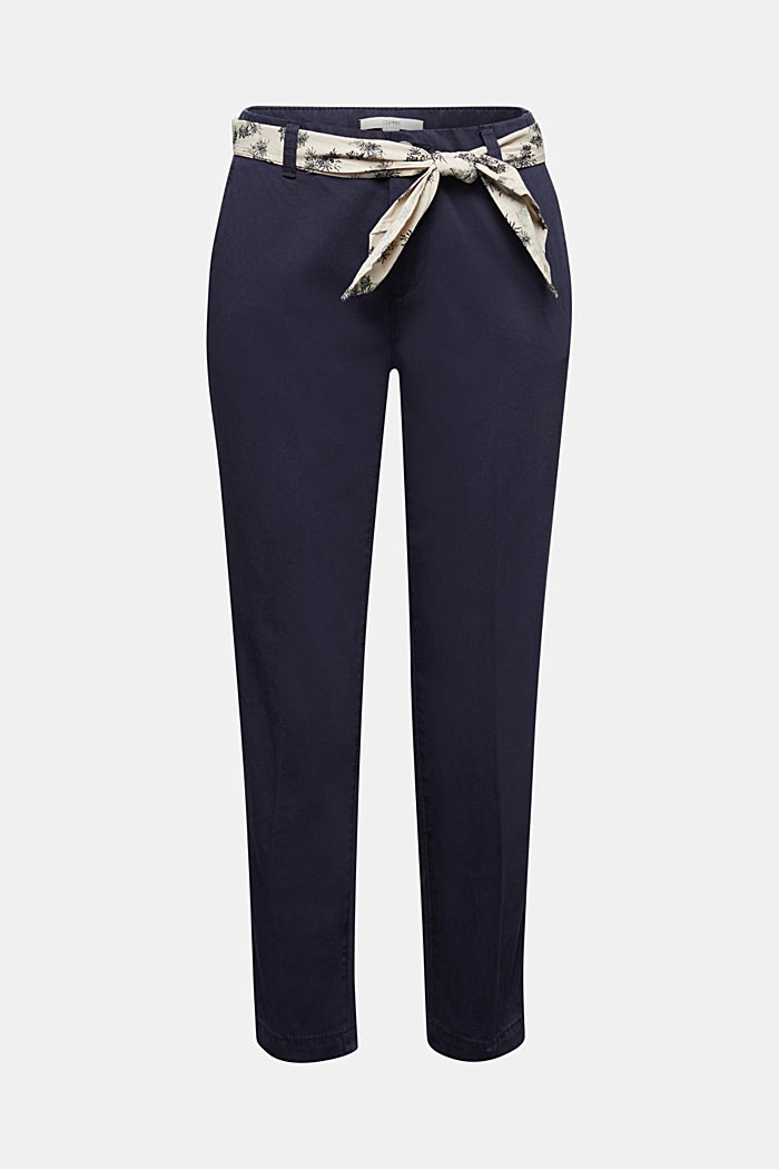 Chinos with a belt, 100% cotton, NAVY, detail image number 6