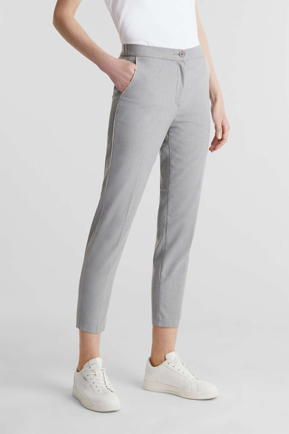 Melange trousers in a tracksuit bottom style, MEDIUM GREY 2, detail image number 0