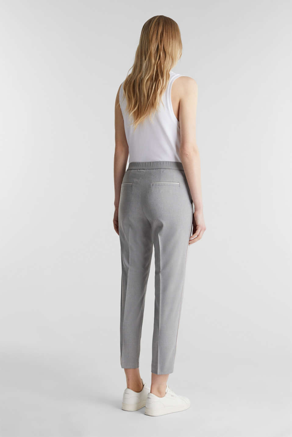 Melange trousers in a tracksuit bottom style, MEDIUM GREY 2, detail image number 3