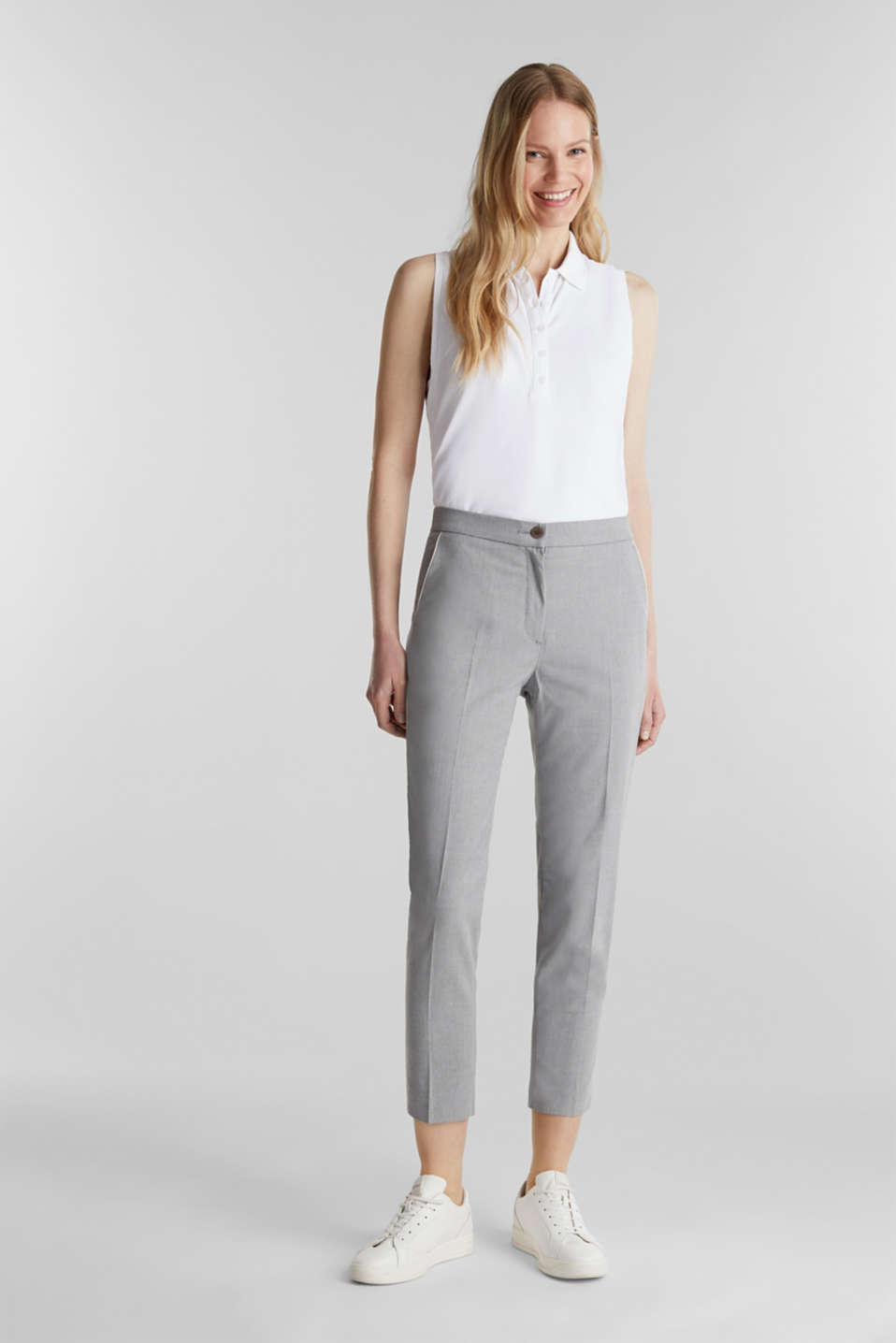 Melange trousers in a tracksuit bottom style, MEDIUM GREY 2, detail image number 1