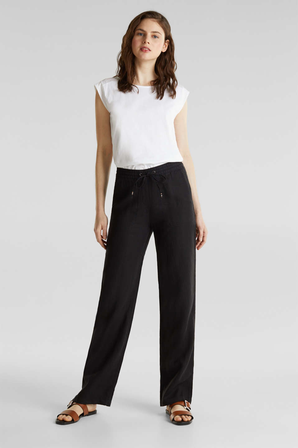 100% linen: tracksuit-style trousers, BLACK, detail image number 0