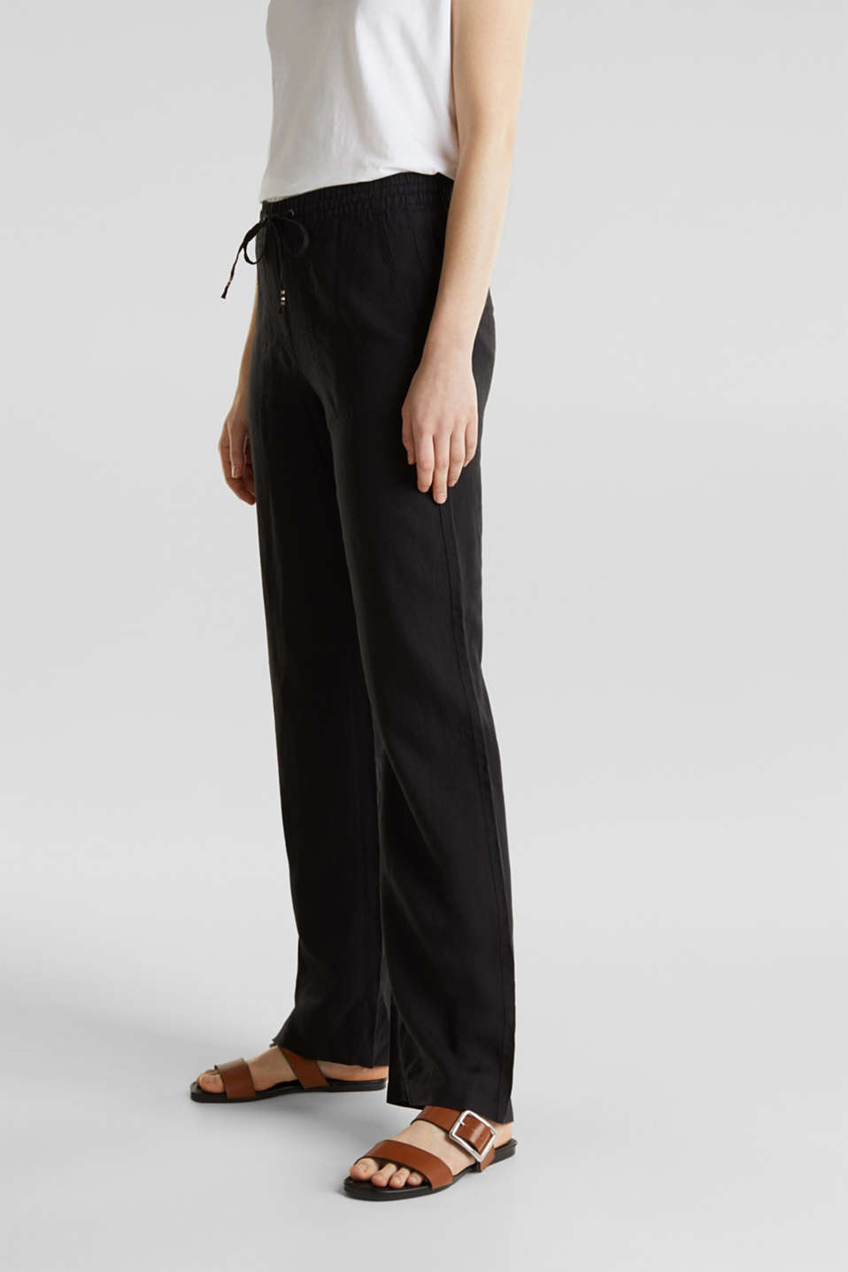 100% linen: tracksuit-style trousers, BLACK, detail image number 6
