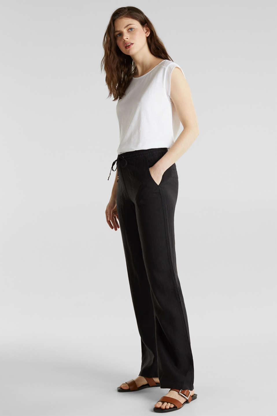 100% linen: tracksuit-style trousers, BLACK, detail image number 1