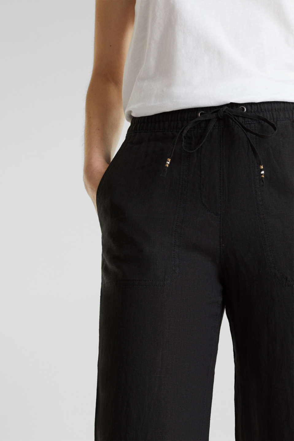 100% linen: tracksuit-style trousers, BLACK, detail image number 2