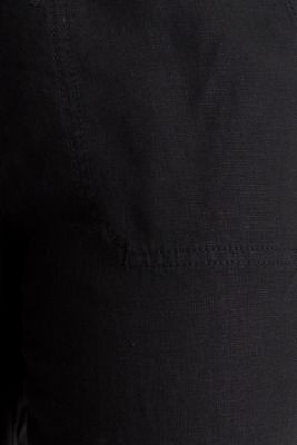 100% linen: tracksuit-style trousers, BLACK, detail