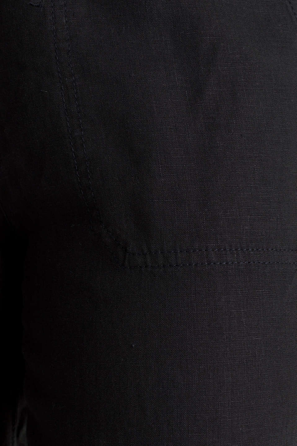 100% linen: tracksuit-style trousers, BLACK, detail image number 4