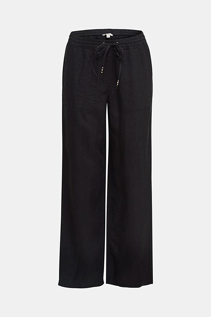 100% lino: pantaloni in stile jogger