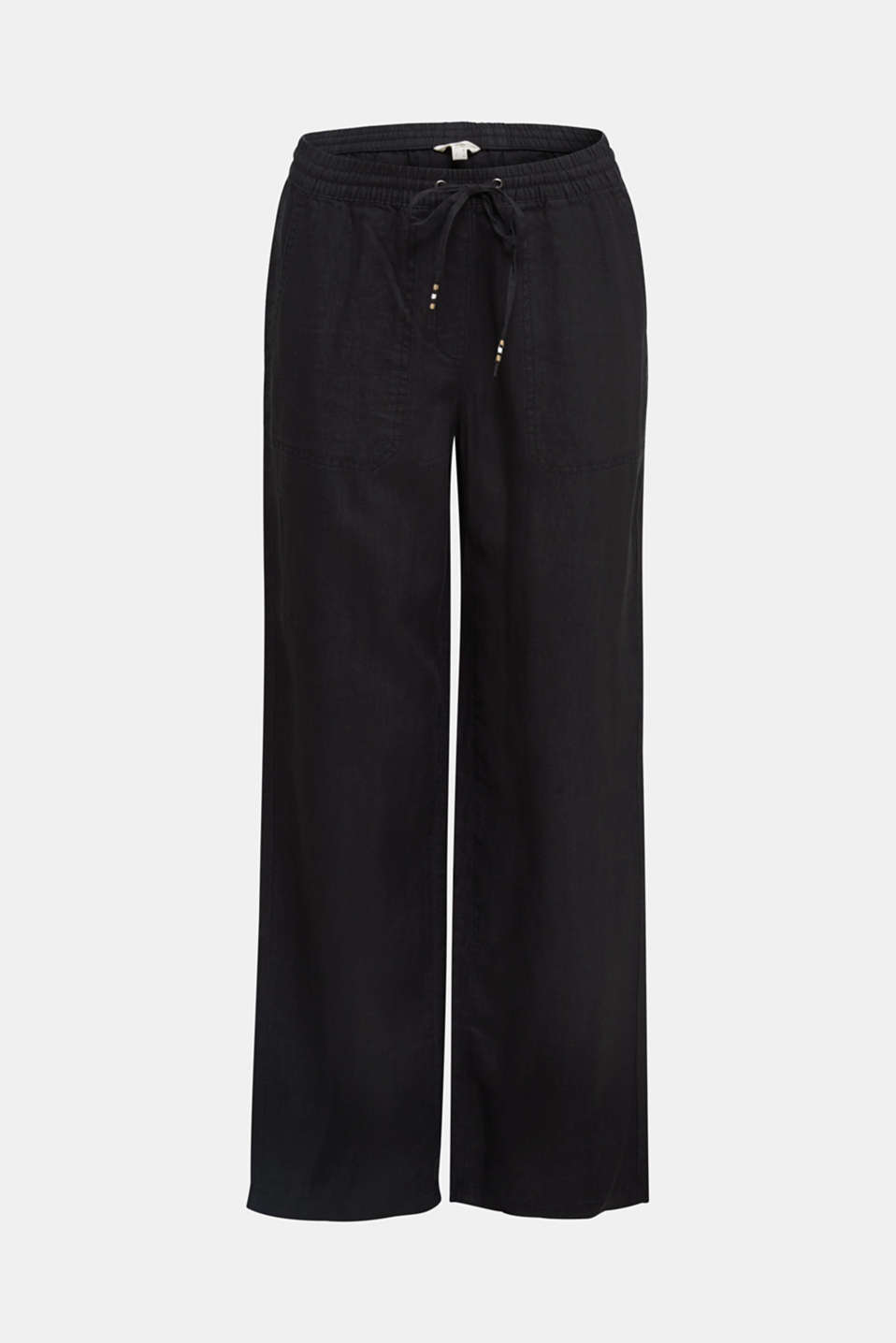 100% linen: tracksuit-style trousers, BLACK, detail image number 7