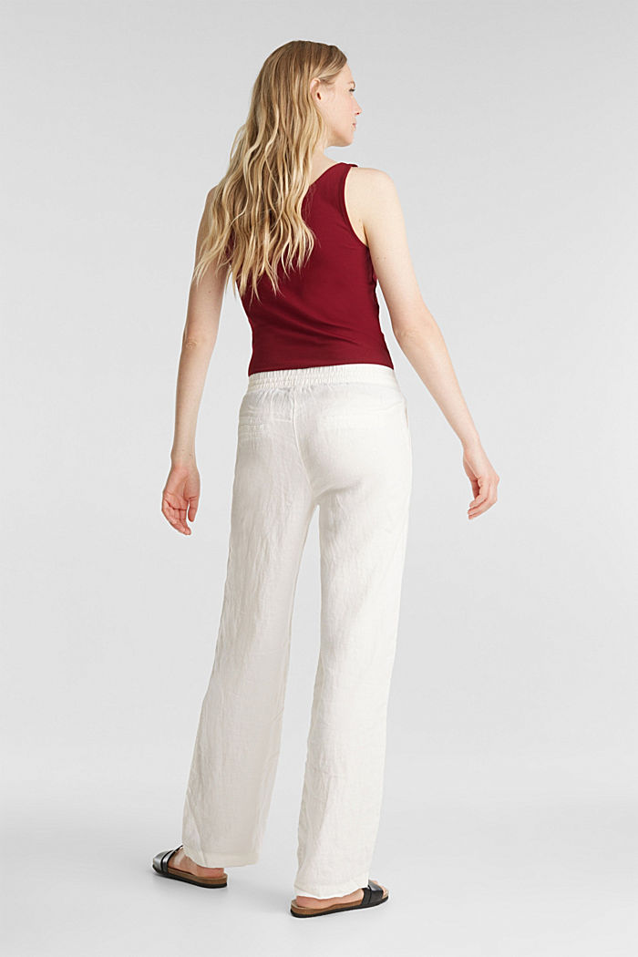 100% linen: tracksuit-style trousers, OFF WHITE, detail image number 3