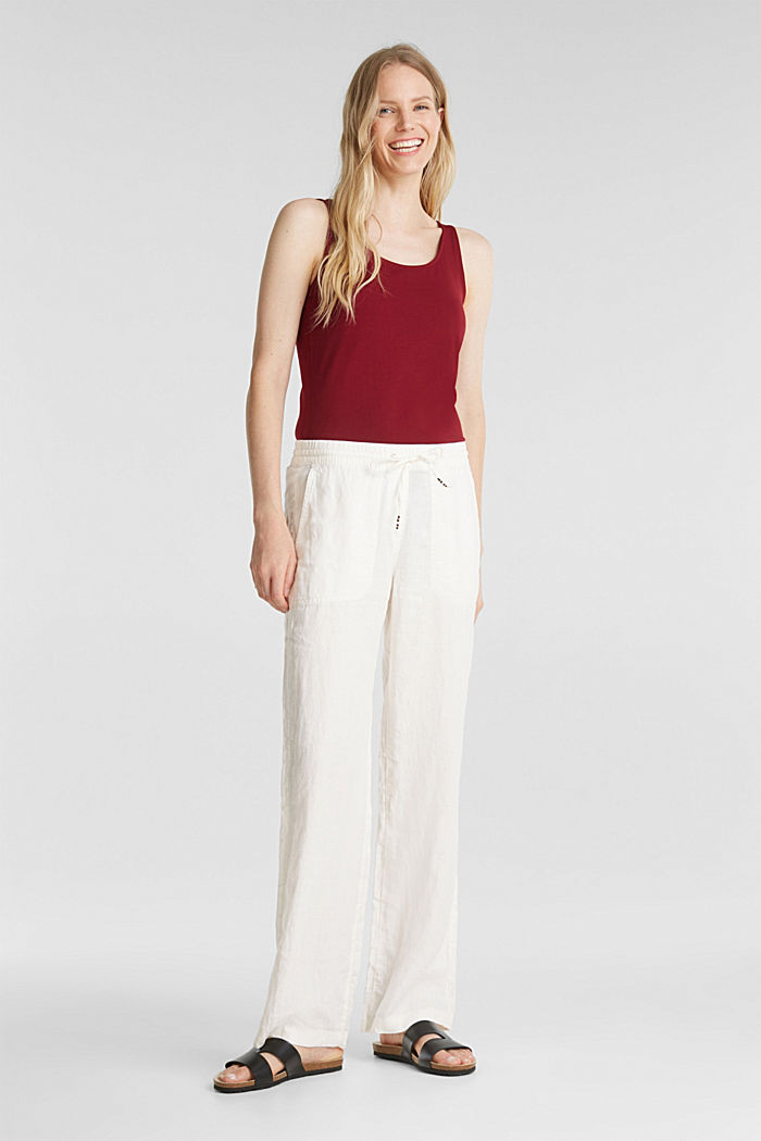 100% linen: tracksuit-style trousers, OFF WHITE, detail image number 1