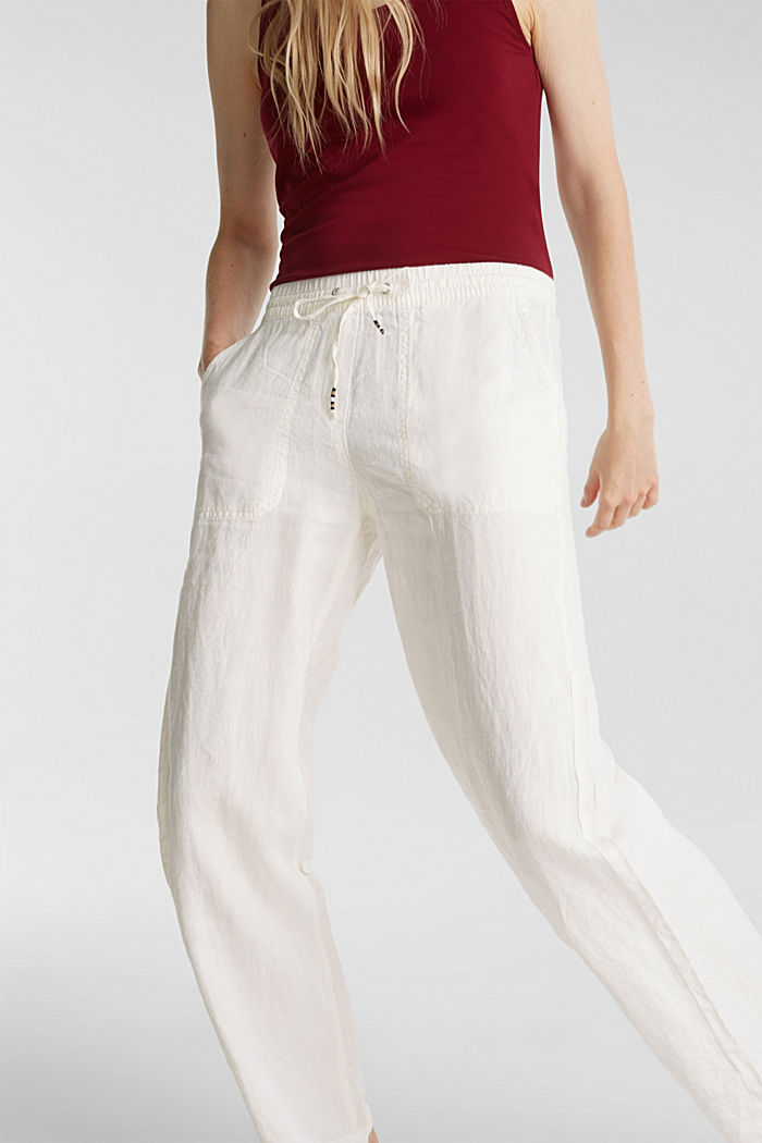 100% linen: tracksuit-style trousers, OFF WHITE, detail image number 2